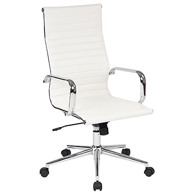 Office Star Worksmart Executive High-Back Faux Leather Chair with Built-in Lumbar Support, White