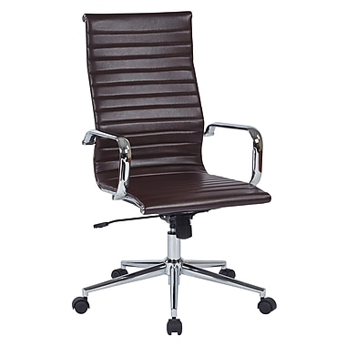 Office Star Worksmart Executive High-Back Faux Leather Chair with Built-in Lumbar Support, Chocolate