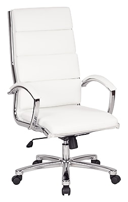 Work Smart Leather Computer and Desk Office Chair, Fixed Arms, White (FL5380C-U11)
