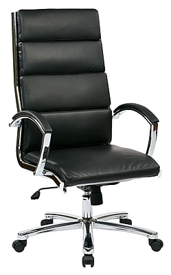 Work Smart Leather Computer and Desk Office Chair, Fixed Arms, Black (FL5380C-U6)