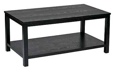 Ave Six Wood Rectangular Cocktail Table, Black