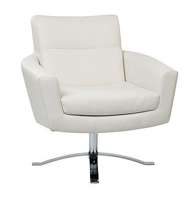 Ave Six Nova Metal, Wood, Leather & Foam Arm Chair, White