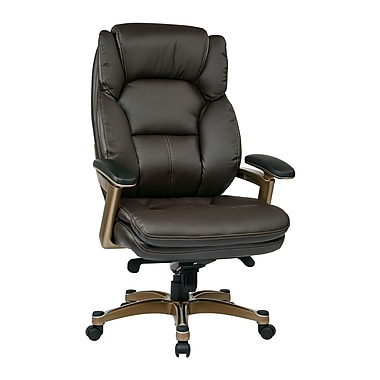 Work Smart Leather Computer and Desk Office Chair, Fixed Arms, Cocoa/Espresso (OPH61601-EC1)