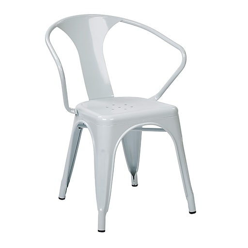 Work Smart 30-inch Patterson Office Metal Stacking Chair, White, 4 pk