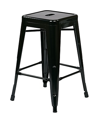 Work Smart 24'' Industrial Legged Base Bar Stool, Black (PTR3024A4-3)