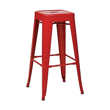 Work Smart Patterson Backless Steel Barstool, Red, 4 pk