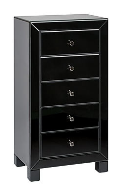 Ave Six Glass 5 Drawer Reflections End Table, Black