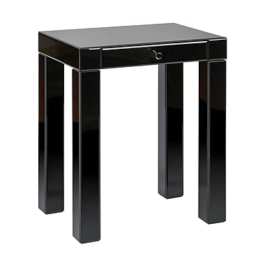 Ave Six Glass Reflections Accent Table, Black