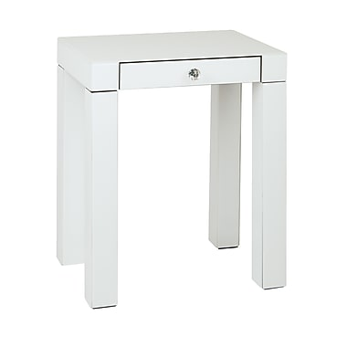 Ave Six Glass Reflections Accent Table, White