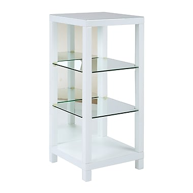 Ave Six Glass Accent Table, White, Each (REF1913R1-WH)