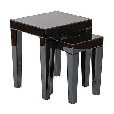Ave Six Glass Reflections Nesting Table, Black