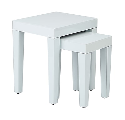 Ave Six Glass Reflections Nesting Table, White