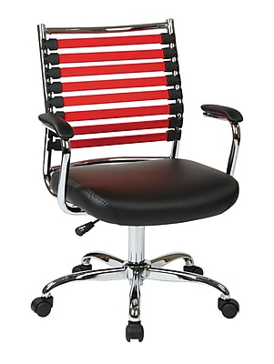 Ave Six Randal Bungee Cord Computer and Desk Office Chair, Fixed Arms, Red/Black (RND26-RD)
