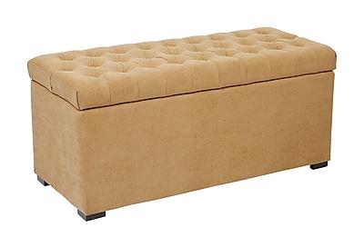 Ave Six Sahara Tufted Cotton & Linen Storage Bench, Shultz Nugget Fabric