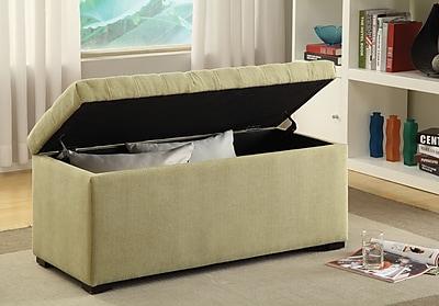 Ave Six Sahara Tufted Cotton & Linen Storage Bench, Shultz Basil Fabric