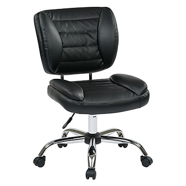 Work Smart Metal Computer and Desk Office Chair, Armless, Black (ST52050C-U6)
