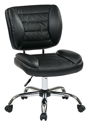 Work Smart Metal Computer and Desk Office Chair, Armless, Black (ST52050C-U6)