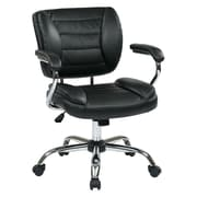 Work Smart Faux Leather Computer and Desk Office Chair, Fixed Arms, Black (ST52052CA-U6)