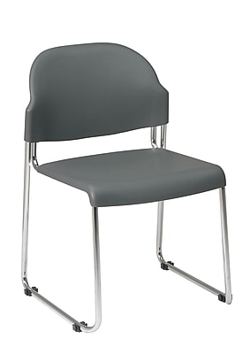 Work Smart STC Series Metal & Plastic Stacking Chair, Gray