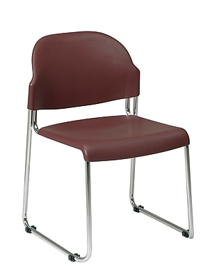 Work Smart STC Series Metal & Plastic Stacking Chair, Burgundy