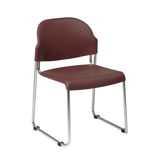 Work Smart Metal & Plastic Stacking Chair, Burgundy, 2/Pack