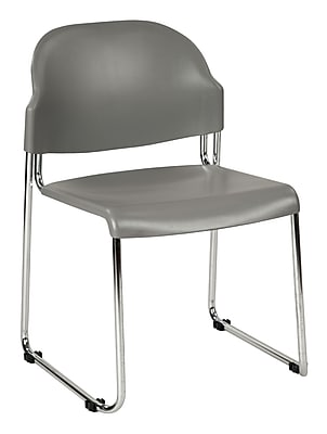 Work Smart Metal & Plastic Stacking Chair, Gray