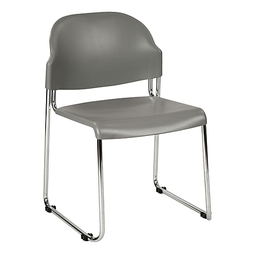 Work Smart Metal & Plastic Stacking Chair, Gray, 2/Pack