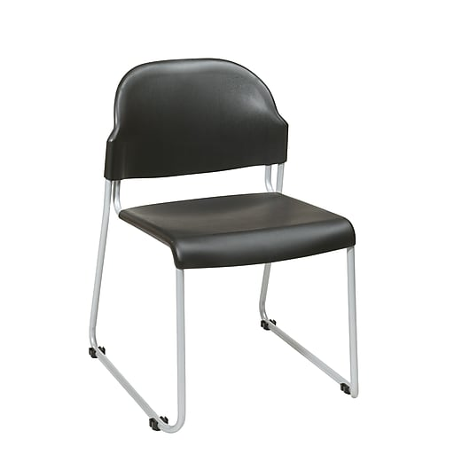 Office Star Plastic Armless Stacking Chair with Back, Black, 2/Ct