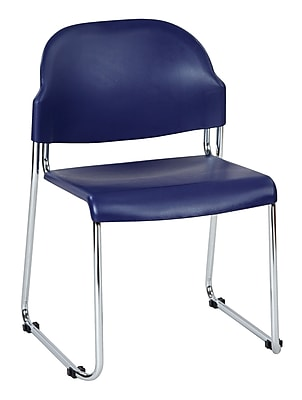 Work Smart Metal & Plastic Stacking Chair, Blue