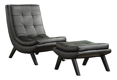 Ave Six Tustin Lounge Wood & Faux Leather Chair & Ottoman; Black
