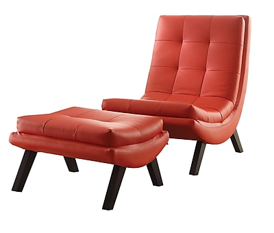 Ave Six Tustin Faux Leather Lounge Chair & Ottoman Set, Red