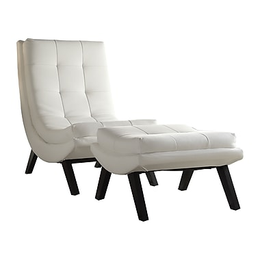 Ave Six Tustin Faux Leather Lounge Chair & Ottoman Set, White