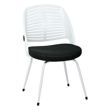 Ave Six Tyler Polyester & Plastic Visitor Chair, White & Black