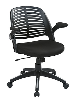 Ave Six Tyler Plastic Conference Office Chair, Adjustable Arms, Black (TYLA26-B3)