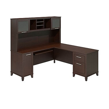 bush furniture somerset 71w lshaped desk with hutch mocha cherry set001mr - Bush Furniture