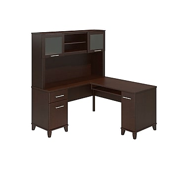 Bush Furniture – Bureau en L de 60 po de large avec étagère, collection Somerset, fini cerisier moka