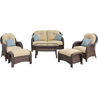 Hanover Outdoor Furniture Newport 6-Piece Deep Seating Wicker Patio Set