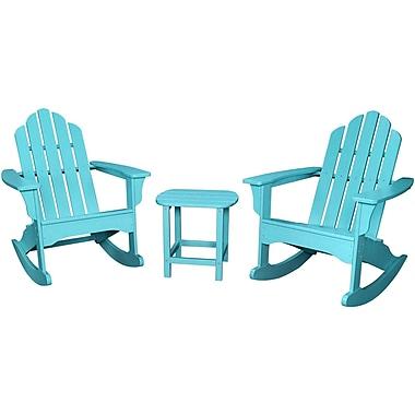 Hanover Outdoor Furniture 3-Piece All-Weather Rocking Adirondack Patio Set, Aruba, Each (ADROCKER3PCAR)