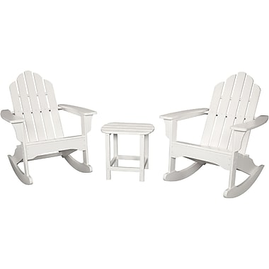 Hanover Outdoor Furniture 3-Piece All-Weather Rocking Adirondack Patio Set, White (ADROCKER3PCWH)