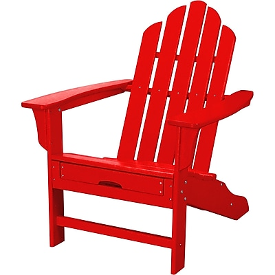 Hanover Outdoor Contoured Adirondack Chair with Hideaway Ottoman, All Weather, Sunset Red (HVLNA15SR)