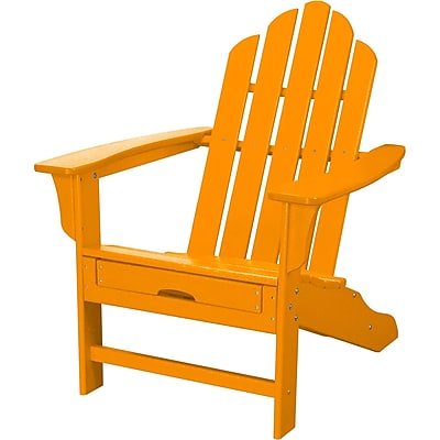 Hanover Outdoor Furniture All-Weather Contoured Adirondack Chair with Hideaway Ottoman, Tangerine (HVLNA15TA)