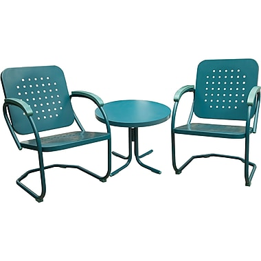 Hanover 3-Piece Retro Outdoor Steel Patio Set, Caribbean Blue (RETRO3PC)