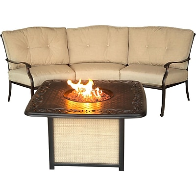 Hanover Outdoor Furniture Traditions 2-Piece Seating Set with Cast-Top Fire Pit