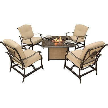 Hanover Outdoor Furniture Traditions 5-Piece Seating Set with Cast-Top Fire Pit Table