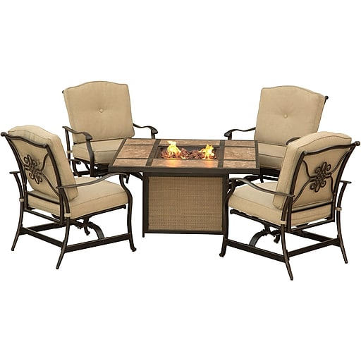 Hanover Traditions 5-Piece Outdoor Lounge Set, Tile-top Fire Pit (TRADTILE5PCFP)