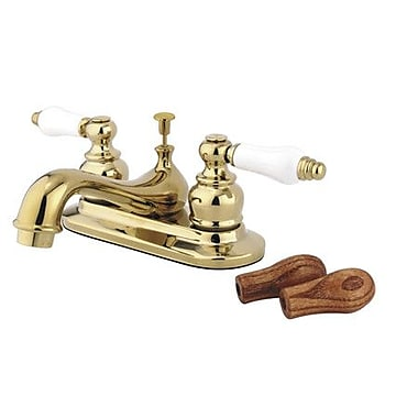 Kingston Brass Restoration Double Handle Centerset Bathroom Sink Faucet; Polished Brass