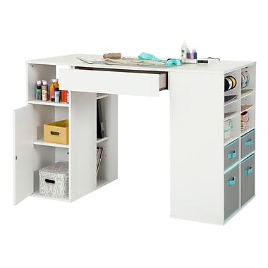 South Shore Crea Counter-Height Craft Table with Storage, White