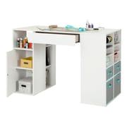 South Shore – Table de travail Crea à hauteur de comptoir, avec compartiments de rangement, blanc