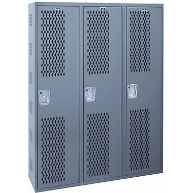 Hallowell Welded 1 Tier 3 Wide Gym Locker; 72'' H x 36'' W x 18'' D