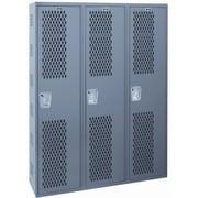 Hallowell Welded 1 Tier 3 Wide Gym Locker; 72'' H x 54'' W x 18'' D